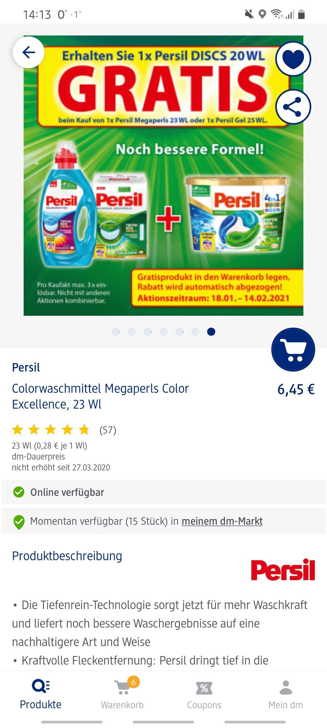 Gratis Persil Discs 20 Waschladung im Wert von 5.95€ beim Kauf von Persil Megapearls