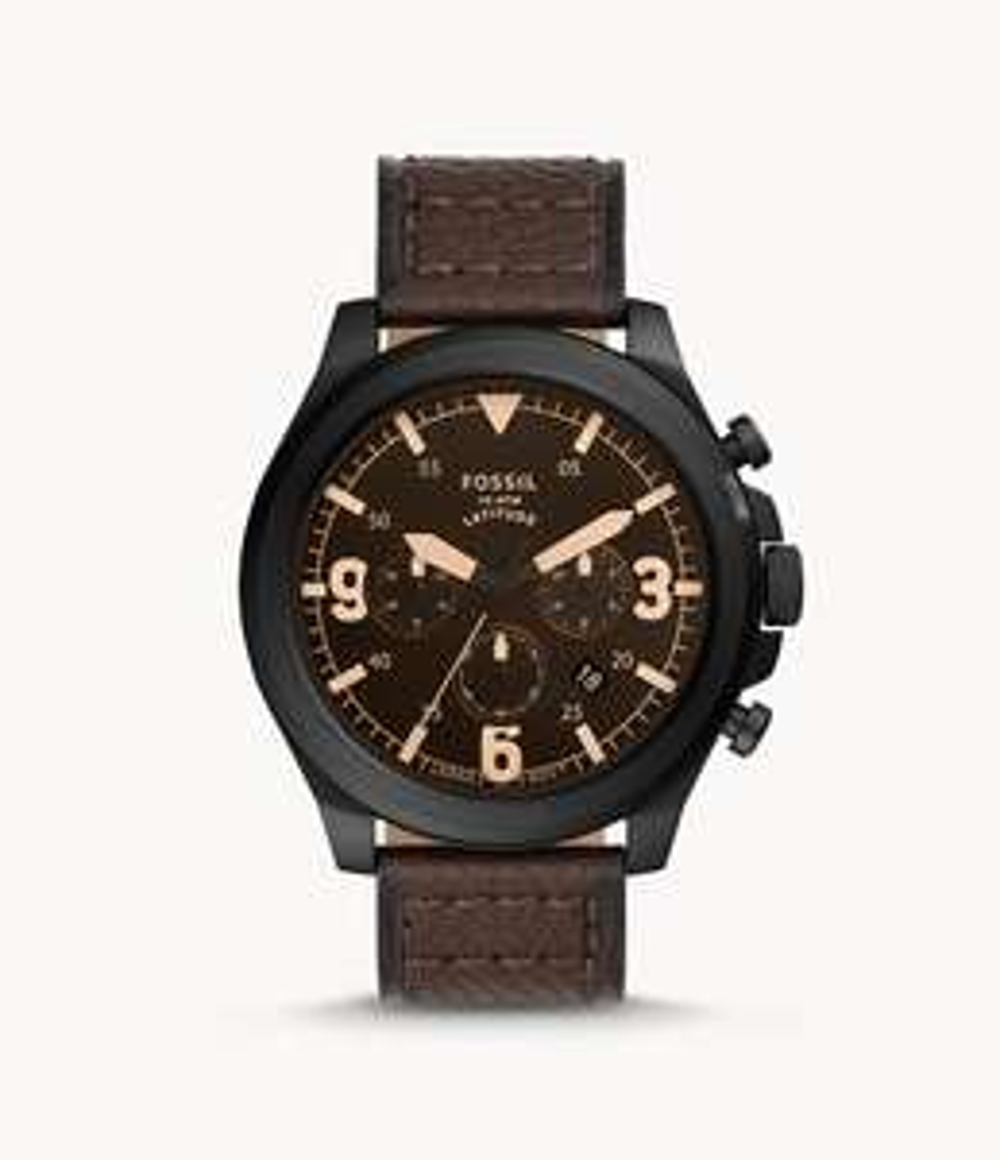 [Fossil] Uhr Chronograph Latitude Lederarmband braun (FS5751) - Kostenlose Gravur!
