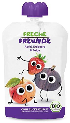 FRECHE FREUNDE Bio Quetschie Apfel, Erdbeer & Feige, Fruchtmus im Quetschbeutel