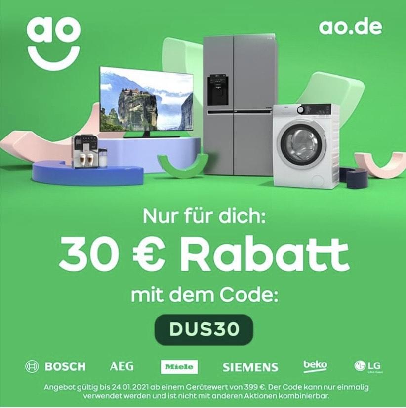 30€ Rabatt bei ao / ao.de ab 399€ Einkauf