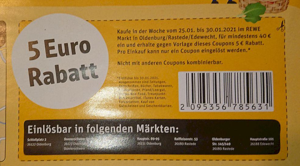 [Lokal OL/Edewecht]Rewe 5 € Rabatt (40 € MEW)