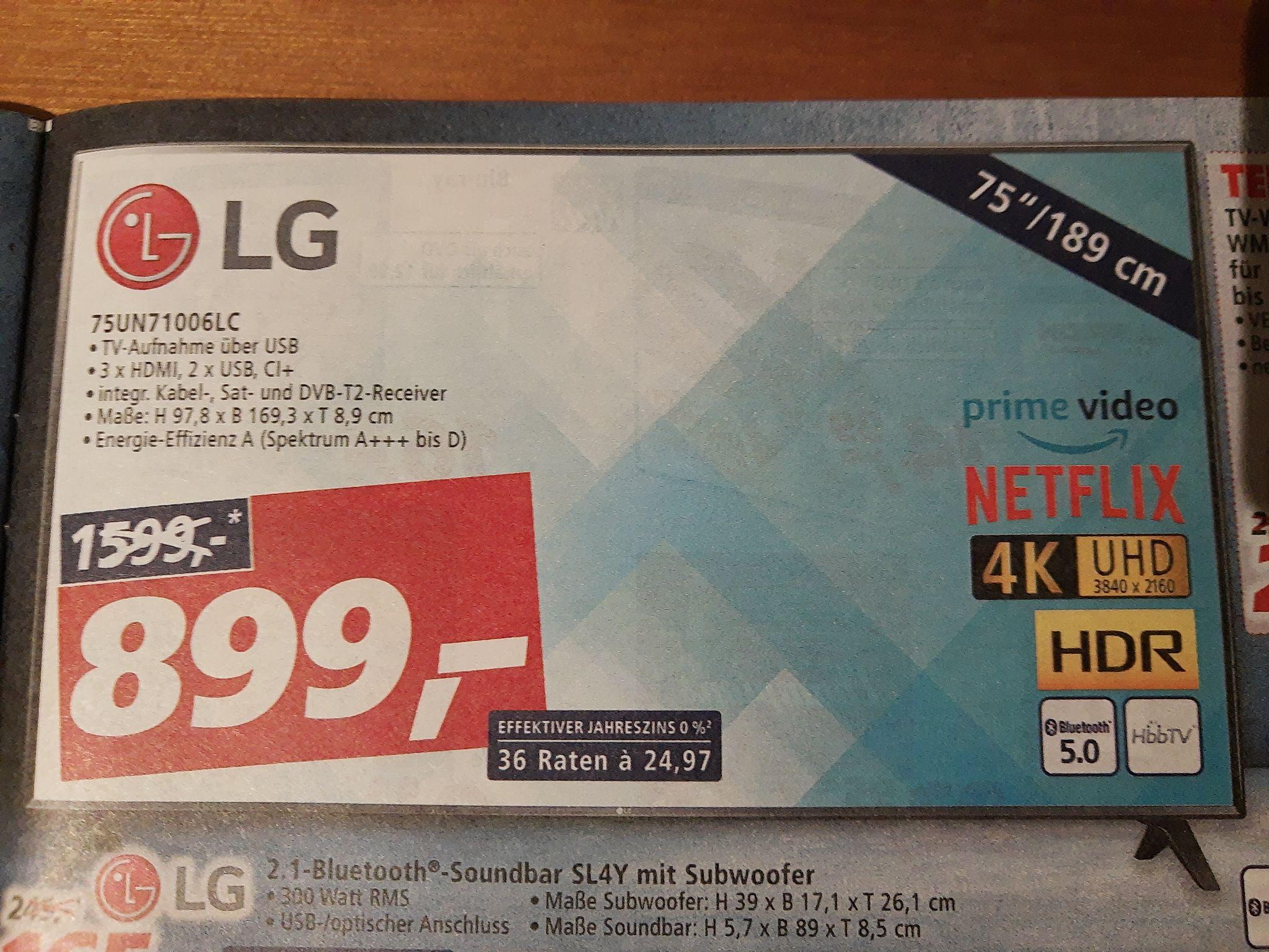 """[Lokal Real bundesweit?] LG 75UN71006LC Fernseher, Smart TV 75"""""""