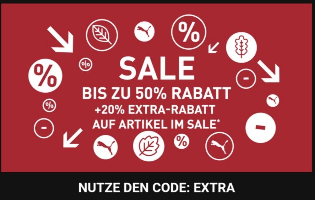 Puma: Rabatt bis zu 50% + 20%* Sale + 15% Melde erste Bestellung.