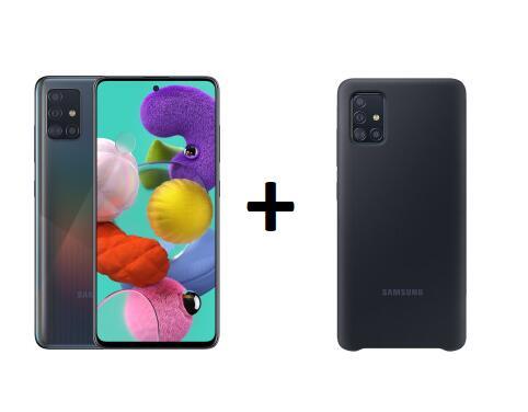 "Samsung Galaxy A51 - 6,5"" FHD+ Dual-SIM Smartphone (4GB/128GB, USB-C, 4000mAh, NFC, Android 10) + Samsung EF-PA515 Backcover"