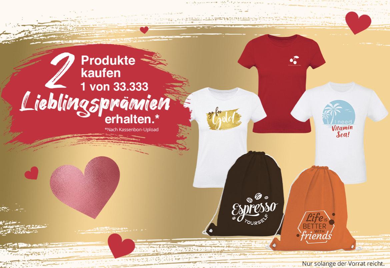 T-Shirt oder Turnbeutel gratis beim Kauf zweier Aktionsprodukte