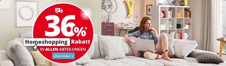 36% Homeshopping Rabatt in allen Abteilungen bei Höffner