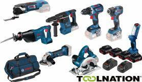 BOSCH BLAU 8 Tool Kit 18V - 7 Maschinen + Leuchte + 4 x 5,0Ah Li-Ion