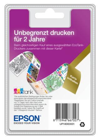 """EPSON EcoTank Unlimited Printing Karte 23,68 € zzgl. Versand (2 Jahre """"unbegrenzt drucken"""") für ET-Drucker"""