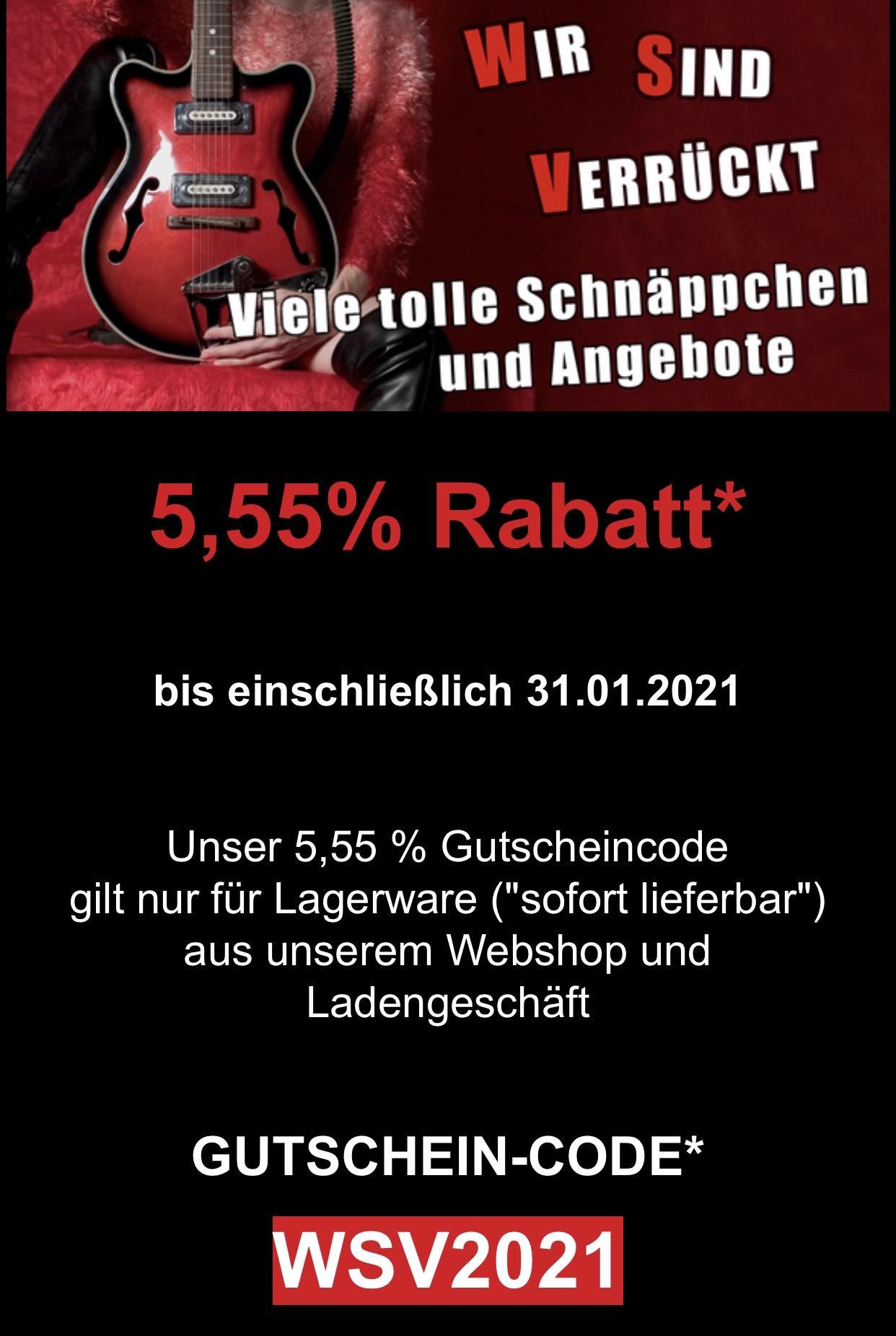 Rockshop Gutschein: 5,55% auf gesamte lagernde Ware