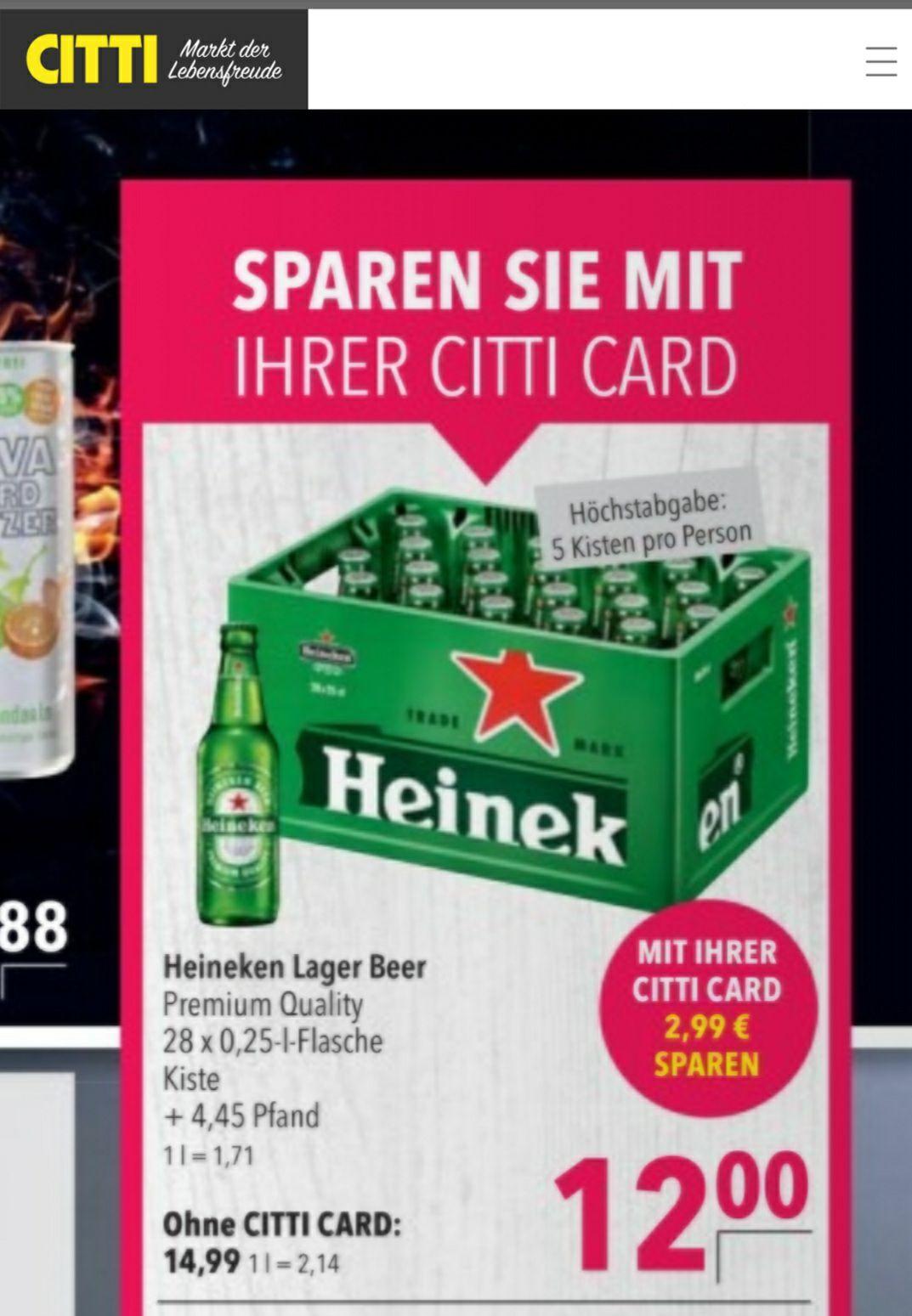 [Citti Märkte] Heineken Bier 0,25l 28er Kiste für 12€