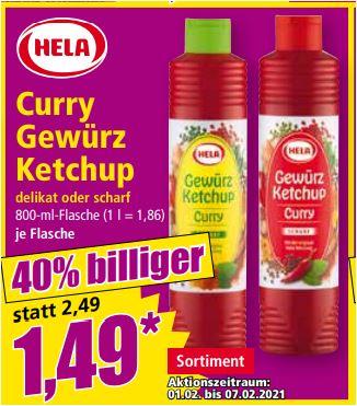 Hela Curry Gewürz Ketchup delikat oder scharf, 800ml für 1,49 Euro [Norma]