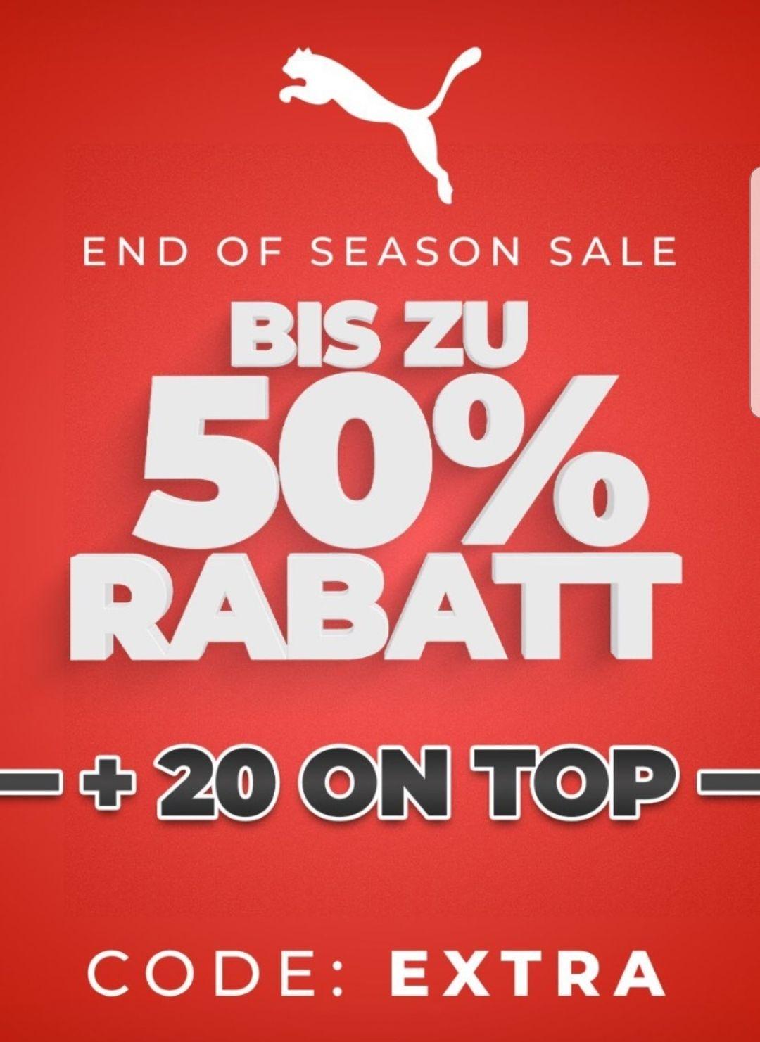 PUMA End of Season Sale: Bereits reduzierte Sneaker & Clothing 50% + 20% on Top (Mit Newsletter 15% nochmal) 4% Shoop