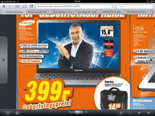 "Slomka Notebook. SAMSUNG NP305E5A-S05 A6-3420M / 8GB / 750GB / HD6470M-1GB / 15,6"""
