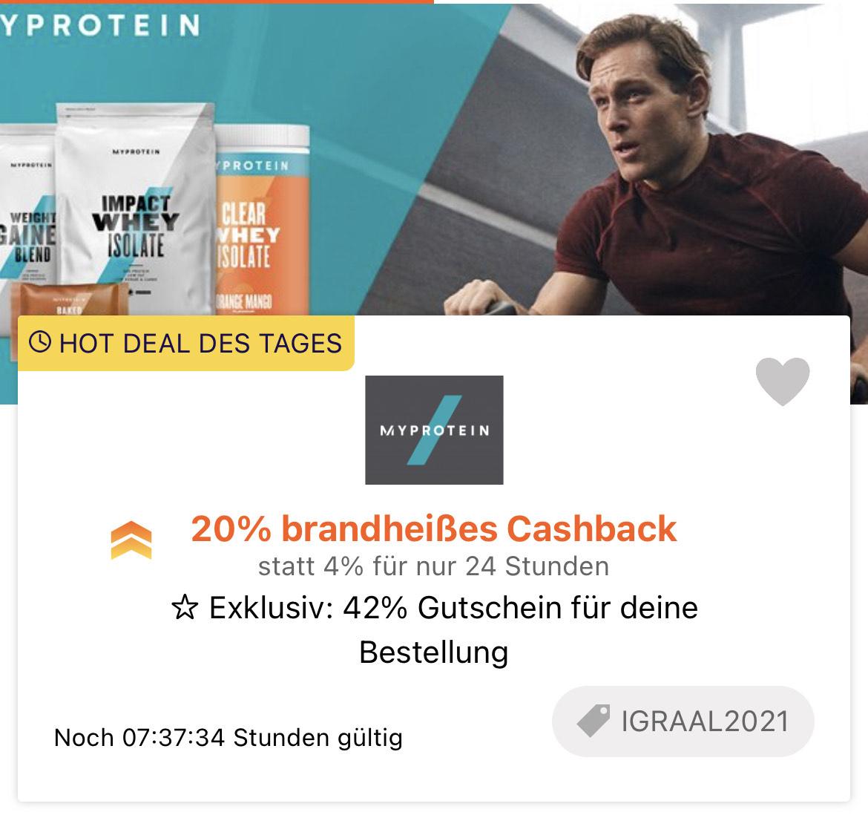 MyProtein - 42% Rabatt UND 20% Cashback via iGraal