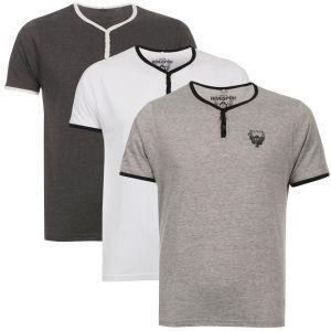 ( TheHut )  Ringspun Men's 3-Pack Blade Grandad T-Shirts - Charcoal/White/Grey