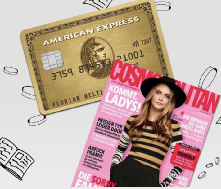 American Express Gold Karte mit 40.000 Punkten oder 144€ Startguthaben + gratis Jahresabo Cosmopolitan Print selbstendend