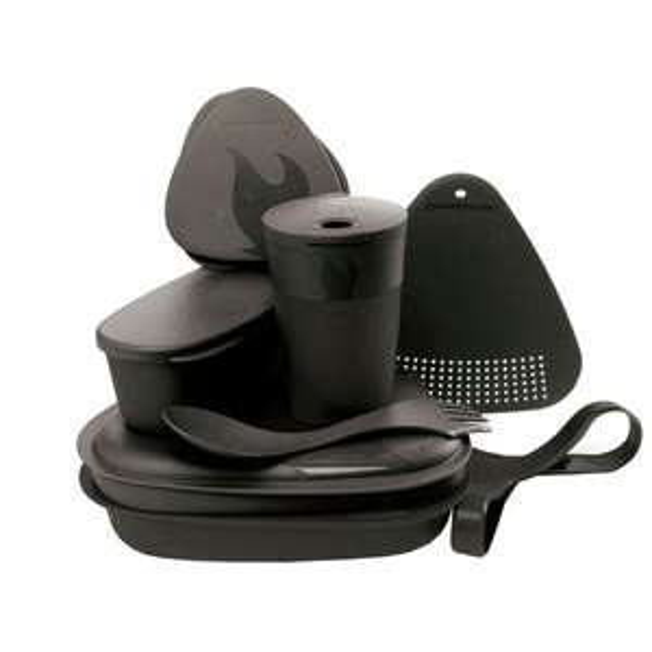 [Globetrotter] Light My Fire MEALKIT, Camping-Geschirrset aus bruchsicherem BIO-Plastik, 8 Teile, schwarz