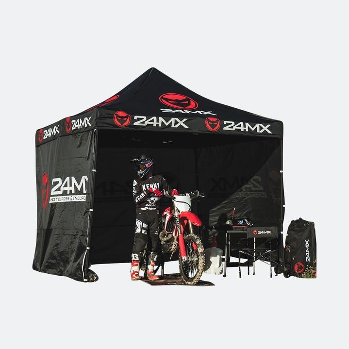 MX24 Rennzelt 3x3m Zelt, Pavillion mit 3 Wänden Zelt Pavillon Partyzelt