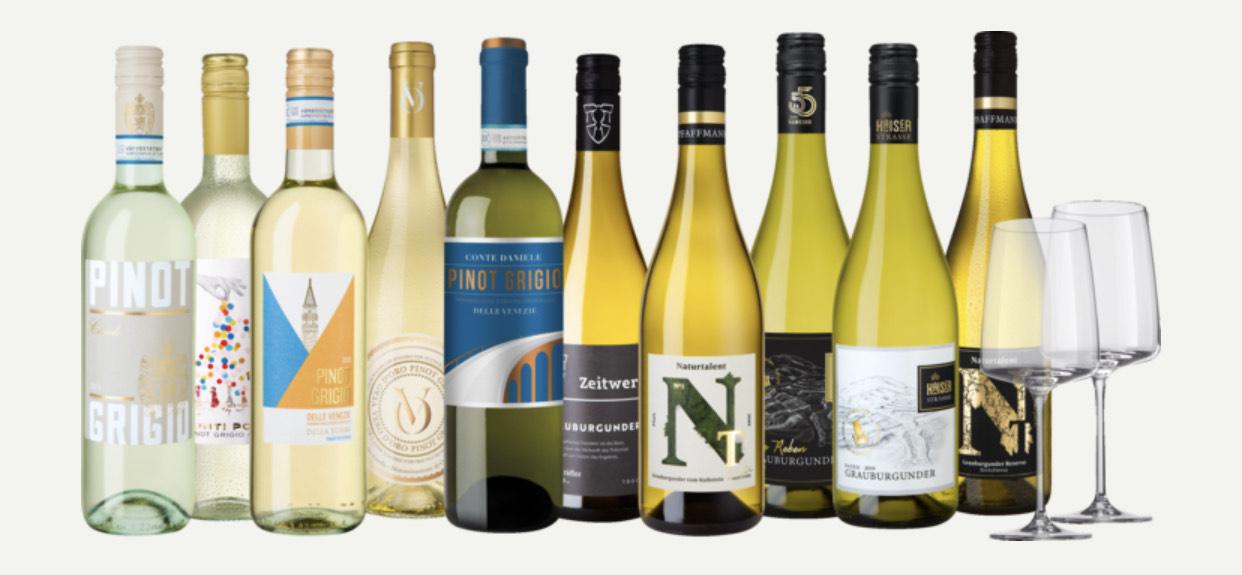 Wein / Weinpaket Grauburgunder + Pinot Grigio + 2 Zwiesel Sensa Gläser