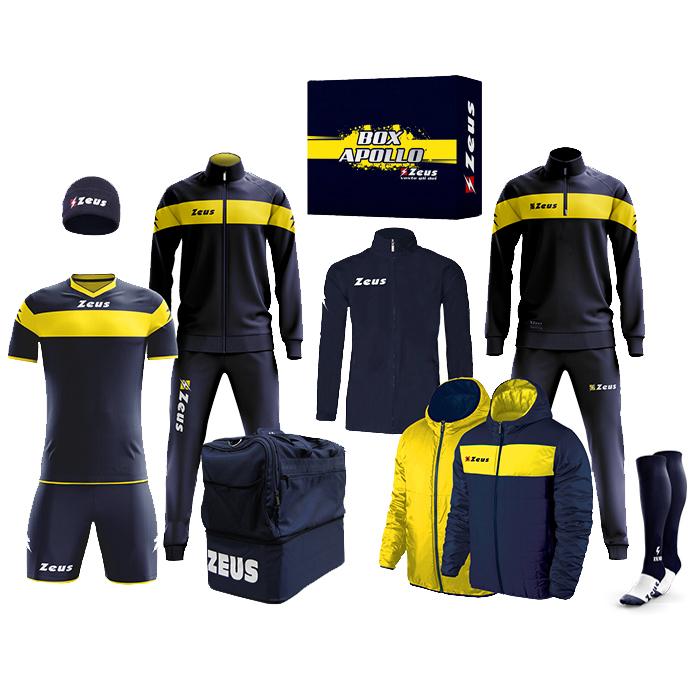 Zeus Apollo Fußball Set Teamwear Box 12-teilig in 10 Farben (2 Trainingsanzüge, Trikot-Set, Regen- Wendejacke, Stutzen, Mütze, Tasche)