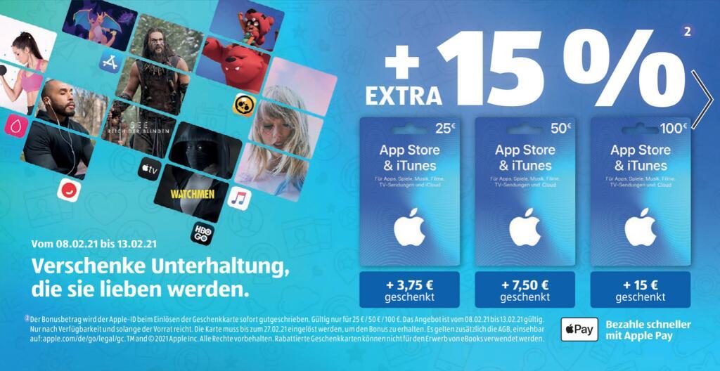 [Aldi-Süd/Nord = bundesweit] 15% zusätzliches Guthaben für iTunes und App Store Geschenkkarten ab 08.02.2021