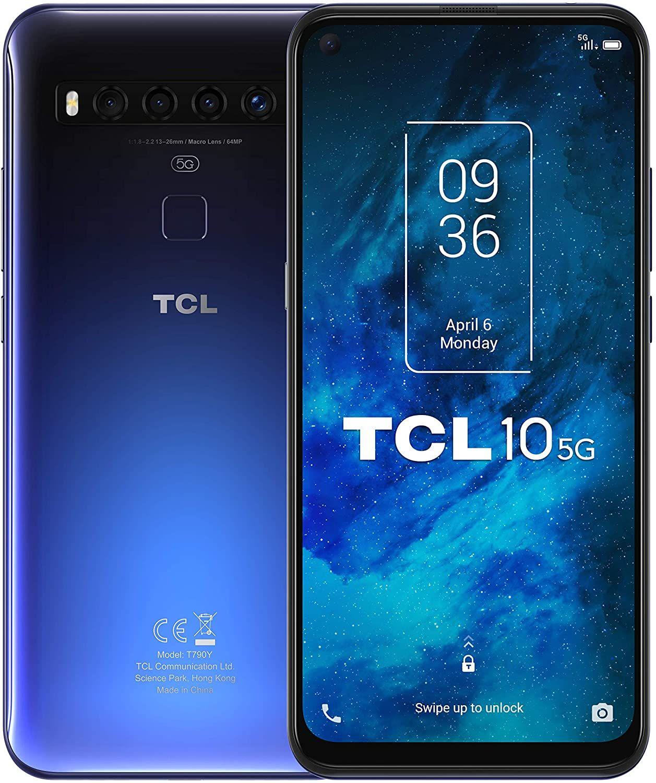 "TCL 10 5G 6,5"" FHD+ 6/128GB (Snapdragon 765G, 321K AnTuTu, 4.500 mAh, IPS, HDR10, 64 MP Quad-Cam, USB-C, NFC, aptX)"