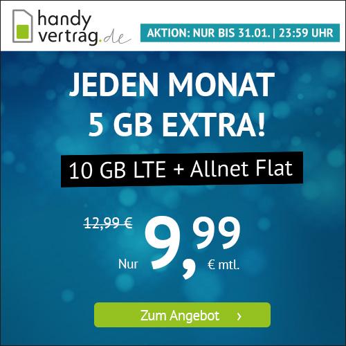 10GB LTE Tarif für mtl. 9,99€ mit Allnet- & SMS-Flat (1 Monate / 24 Monate; Telefonica-Netz)
