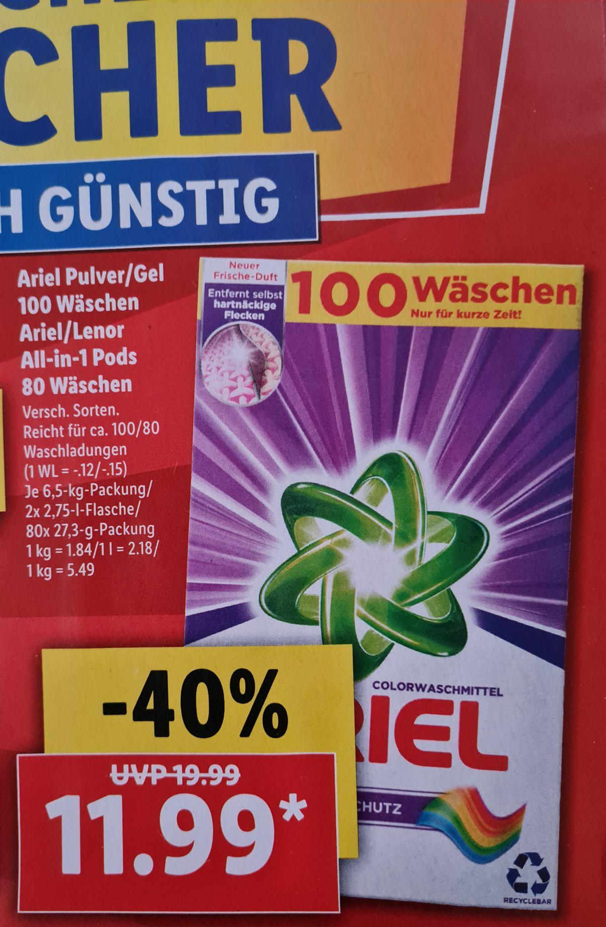 Ariel Pulver/Gel 100 Wäschen Ariel/Lenor All-in-1 Pods 80 Wäschen für 11,99€ im LIDL ab 01.02