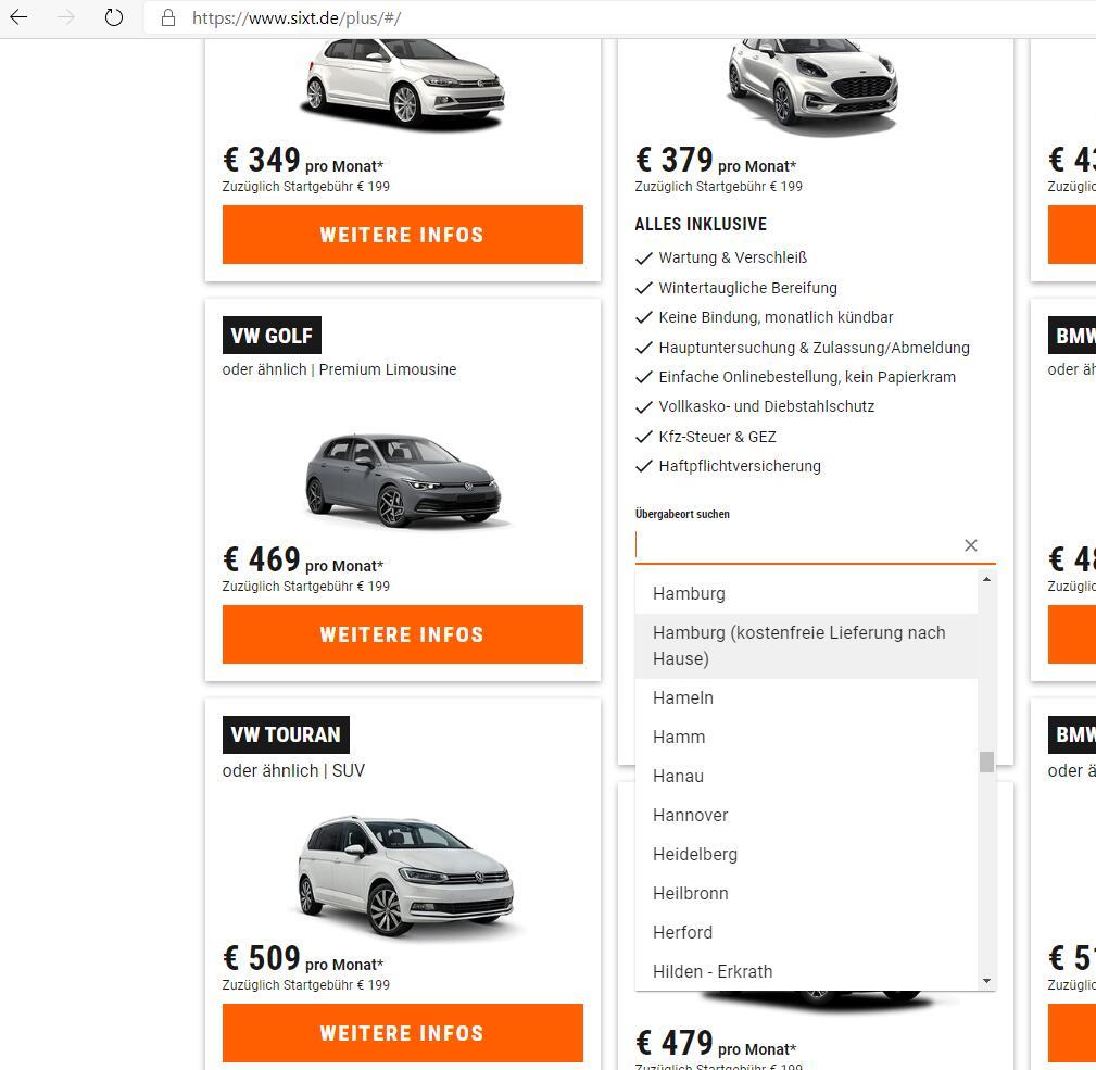 Sixt+ Auto Abo kostenfreie Zustellung (Lokal Raum Hamburg)