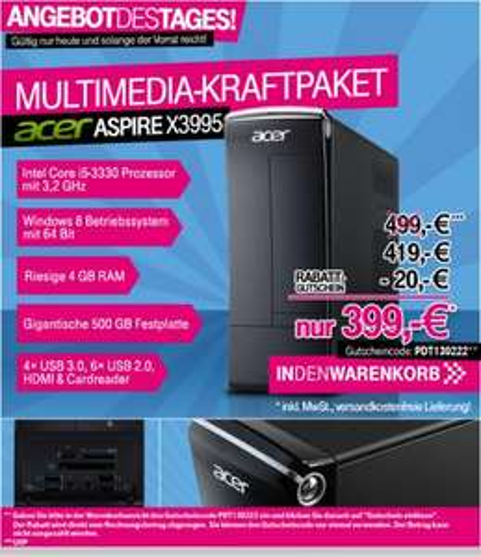 Acer Aspire X3995 - 8,5 L, Core i5-3330, 4GB, 500GB, Windows 8 @T-Online inkl. VSK