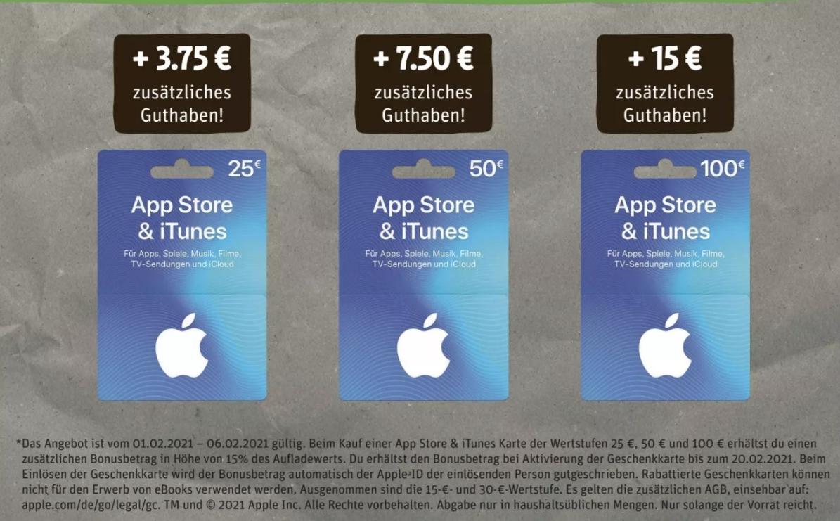 [Rewe Kartenwelt und Edeka ab 01.02] 15% extra Guthaben auf App Store&Itunes Guthaben
