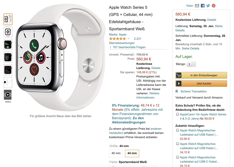 Apple Watch Series 5 (GPS + Cellular, 44 mm) Edelstahlgehäuse - Sportarmband Weiß (Amazon)