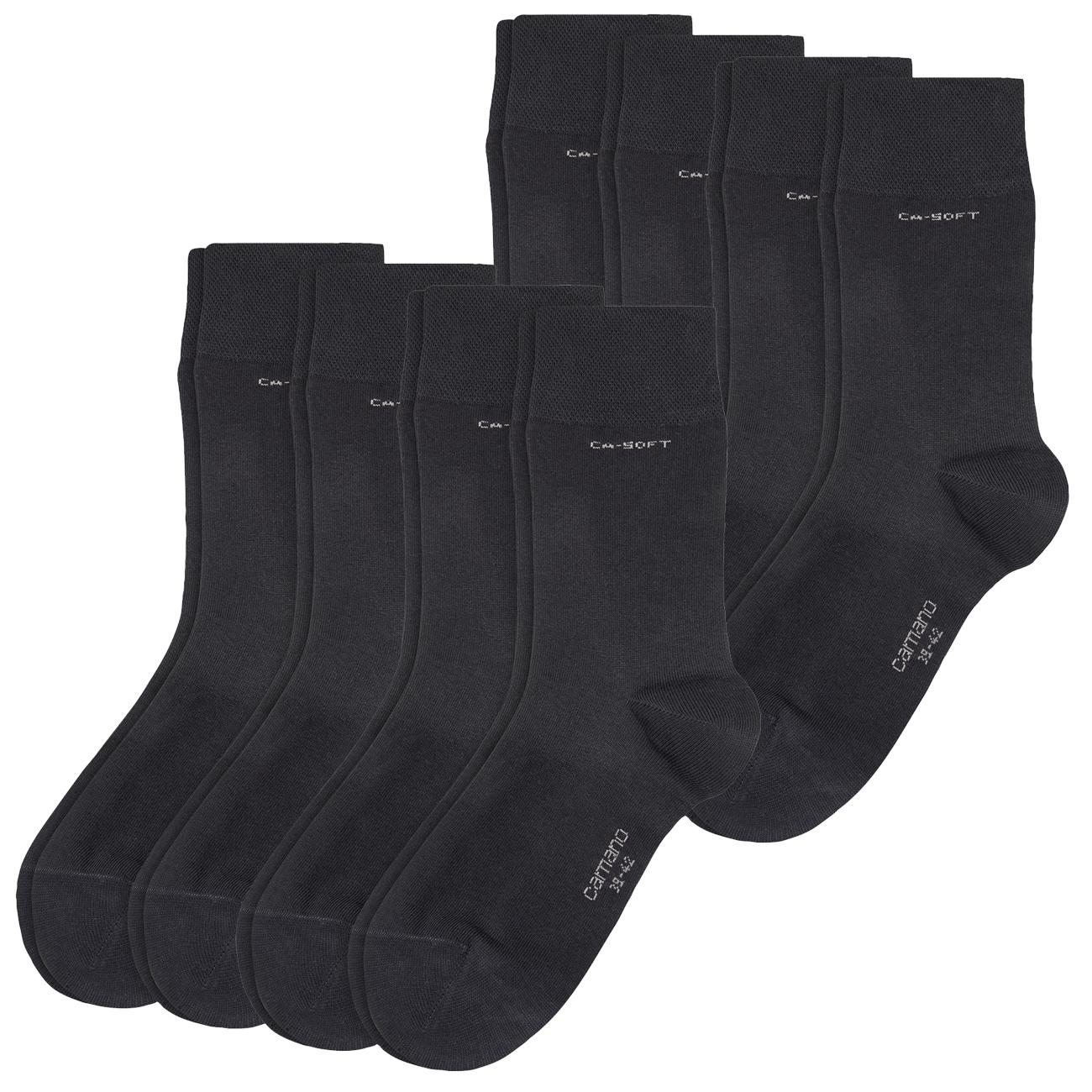 Camano Unisex CA-Soft Socken 8er Pack (Größen: 35-49, 2,37€ pro Paar), handgekettelt, verstärke Spitze / Ferse, 80% Baumwolle