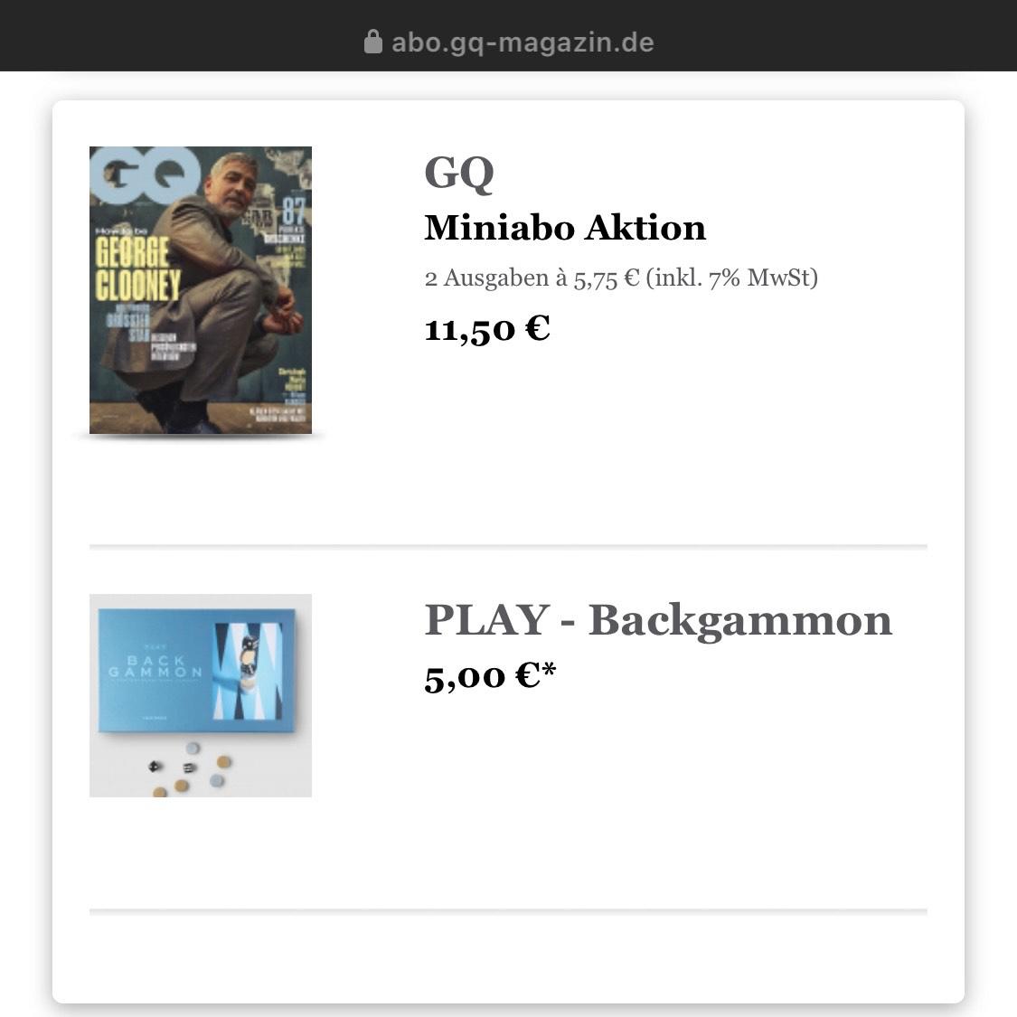 Printworks Backgammon + 2 x GQ