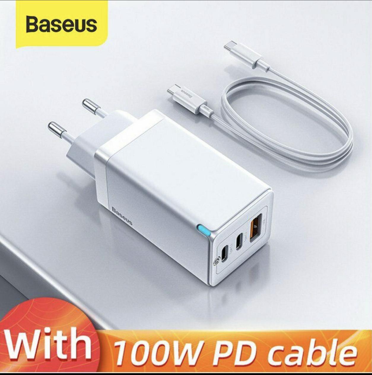 65W, 3 Ladeports, QC4.0 PD AFC, Baseus GaN Mini-Schnellladegerät EU, schwarz, mit USB-C Kabel