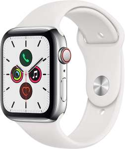 Edelstahl: Apple Watch Series 5 in Silber 44 mm GPS+Cellular