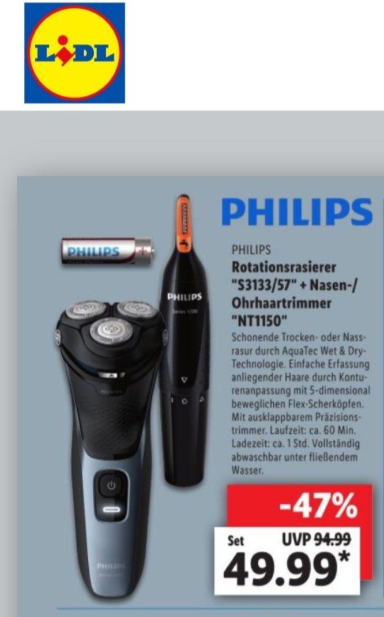 "Philips Rotationsrasierer ""S3133/57"" + Nasen-/ Ohrhaartrimmer ""NT1150"""