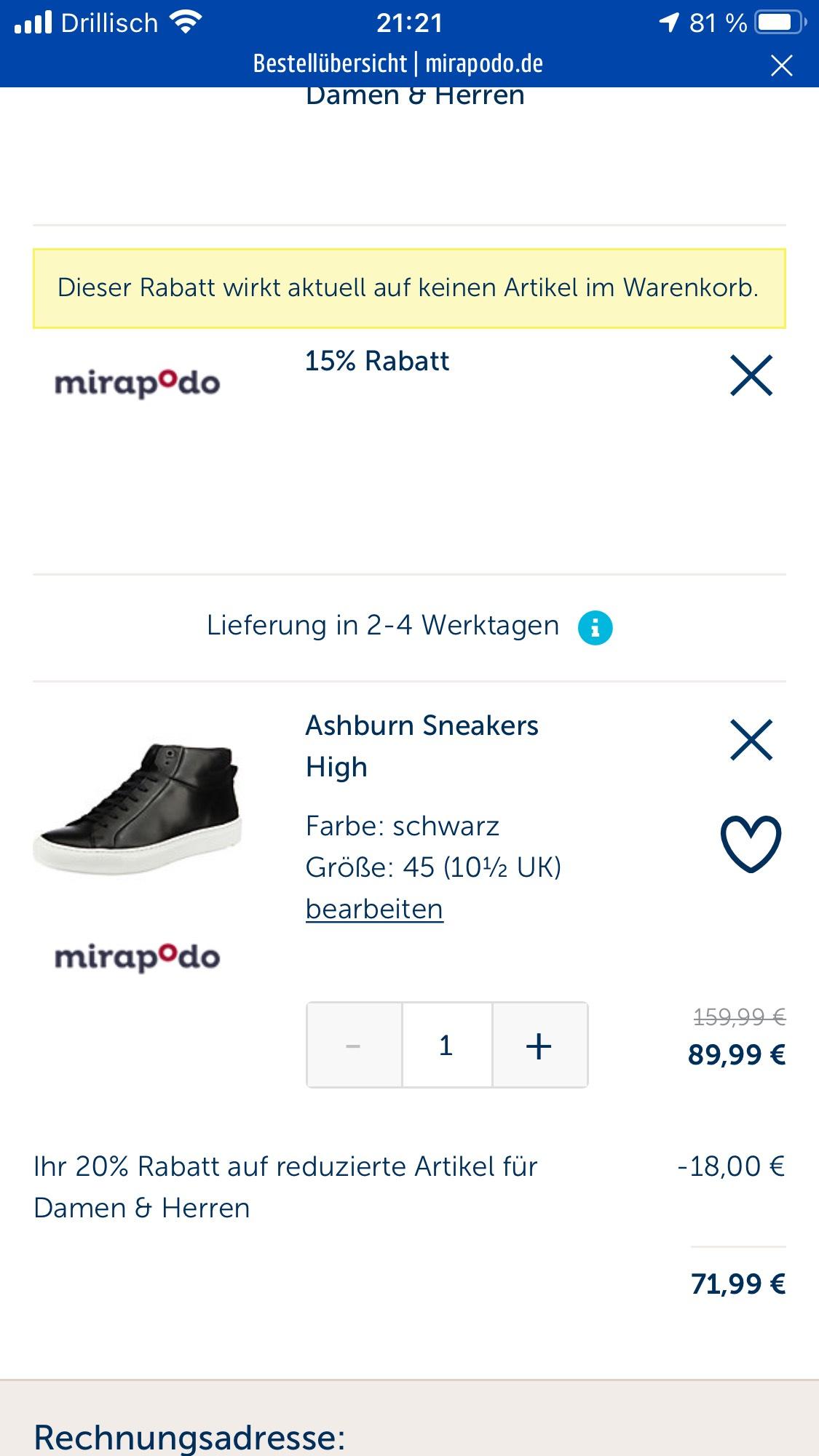 Mirapodo.de 20% Extrarabatt auf Sale + 30-Fach Payback