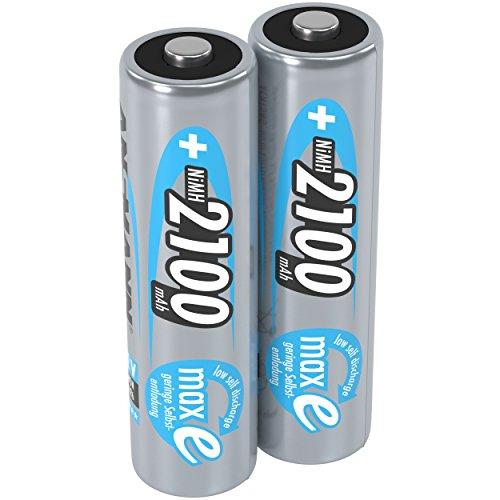 (Prime) ANSMANN Akku AA Mignon 2100mAh 1,2V NiMH - wiederaufladbare Batterien AA Akkus maxE (geringe Selbstentladung & vorgeladen) (2 Stück)