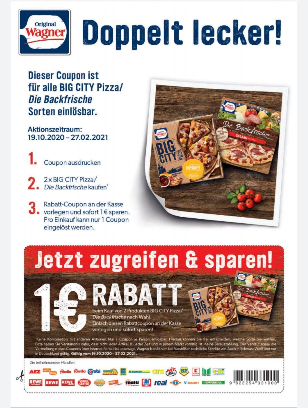 2 Wagner Big pizza / Die Backfrische kaufen 1€ Rabatt Coupon bis 27.02.2021 in teilnehmenden Märkten