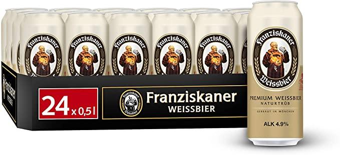 (Prime) Dosenbier im Angebot bei Amazon. z.B. Franziskaner Weissbier 24x0,5l für 13,36€ + 6€ Pfand