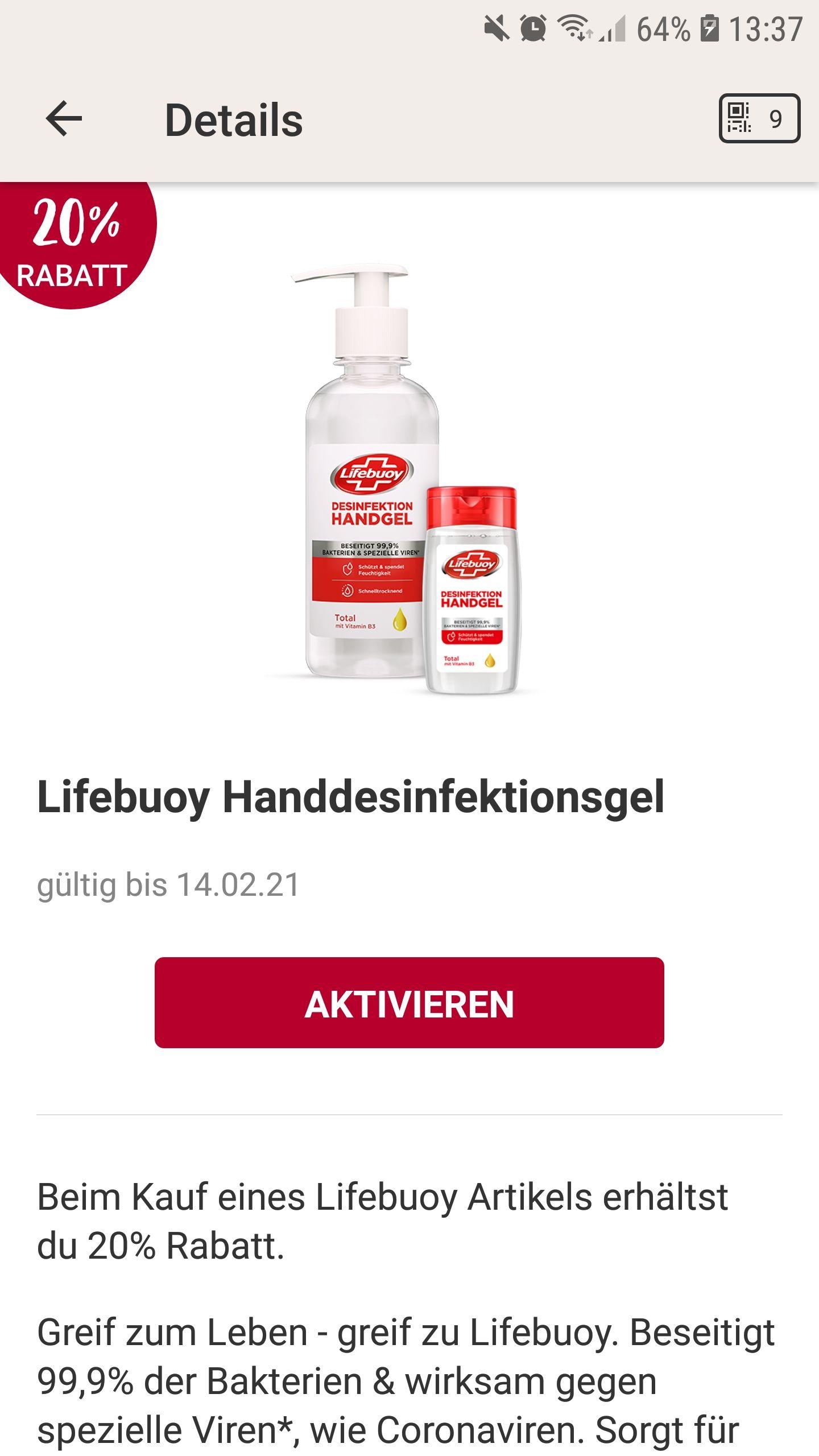 Rossmann Desinfektionsmittel Lifebuoy für 1,51€ durch 20% App Coupon