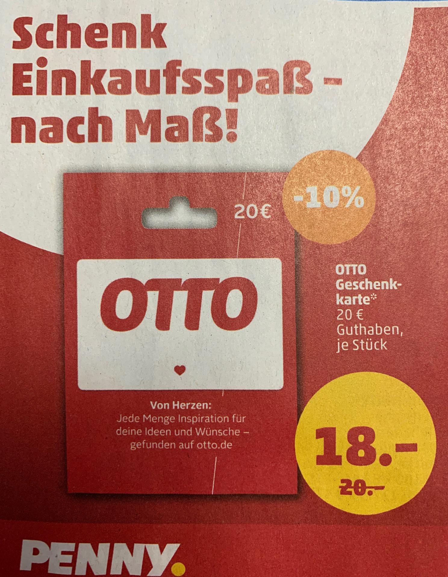 10% auf OTTO-Geschenkkarten / 20% auf Hunkemöller-Geschenkkarten [PENNY]