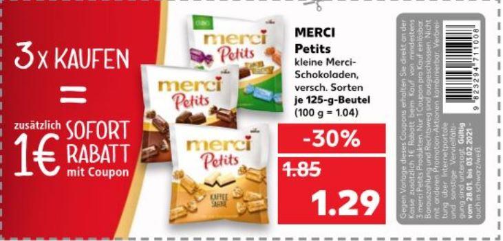(Lokal) 3 x Merci Petits mit Coupon Merci für 2,87€ - Kaufland