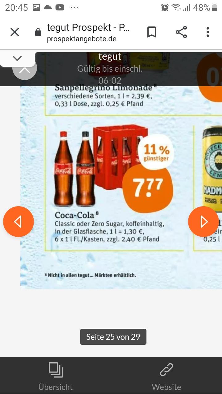 Tegut: Coca Cola mal in der guten alten Glasflasche.... 6 Stück je 1 Liter in der Kiste