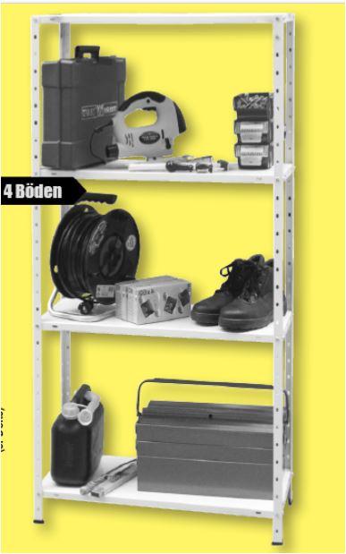 Regal 75 x 150 x 30 cm, 120 kg für 11 Euro / Schwerlastregal 160 x 180 x 60 cm, 1000 kg für 59 Euro / 10 Euro Gutschein mögl. [B1 Baumarkt]