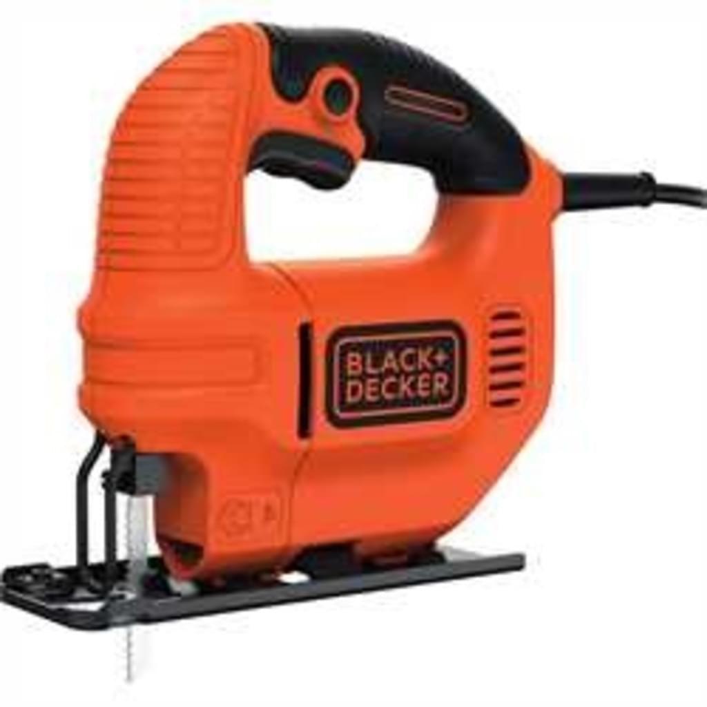 Black+Decker Elektro Kompakt Stichsäge 400W KS501 – Säge für Holz, Metall & Kunststoff mit 0/45° Gehrungsschnitt [Real Marketplace]