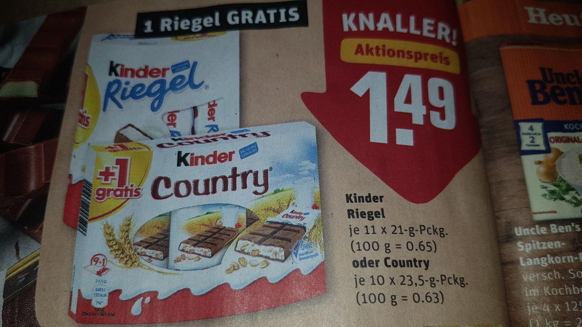 Ferrero Kinder Riegel oder Kinder Country, 1 Riegel gratis
