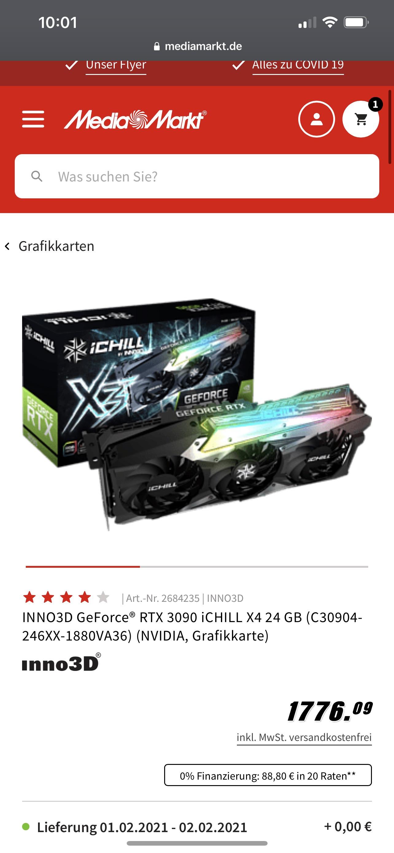 INNO3D GeForce® RTX 3090 iCHILL X4 24 GB (C30904-246XX-1880VA36) (NVIDIA, Grafikkarte)
