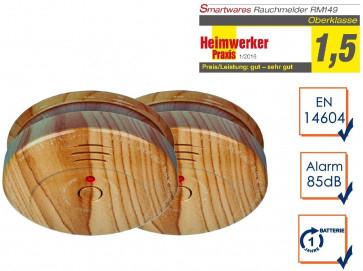 2x Smartwares RM149H Batterie Holzoptik Rauchmelder (Zulassung nach DIN EN 14604)